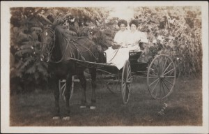 Two young ladies in their buggy, Horlick Springs, Racine, Wisconsin, 1908