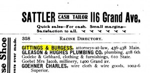 Gittings and Burgess listing in 1902 business and professional directory