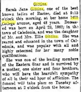 Sarah Jane Gittins obituary, Racine Journal 1910 09 27