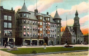 Hotel Racine and post office, 1911