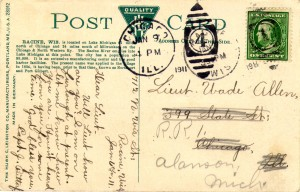 Hotel Racine and the post office, 1911, reverse