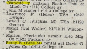 1945 City Directory showing Jeanette's job as a draftsman, and also her father Percy's job