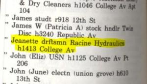 Jeanette's job in 1970