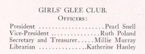 Pearl Snell, Glee Club president, 1915 Kipikawi