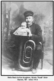 "Niels Rask and his daughter, Syliva ""Rask"" Sohr, Racine, WI, circa 1913"
