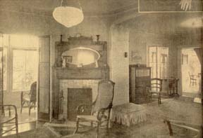 The fireplace which Mrs. Winship insisted on having moved (in spite of the anguished protests of the carpenters) remains just where she had it placed, and draws beautifully, too. At the far left, a glimpse of the veranda, looking through the trees toward the lake. At the right, a portion of the second sitting room which adjoins the library. At the extreme right, a bit of the dining room, and, barely visible, a still life painted by Col. William Utley. Daguerrotypes and portraits provide footnotes to Racine history.