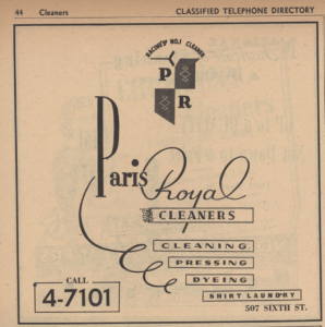 Paris Royal Cleaners ad from 1954 Racine phone book