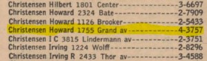 1755 Grand Avenue from 1954 phone book