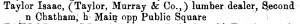 Isaac Taylor's listing in the 1858 Racine City Directory