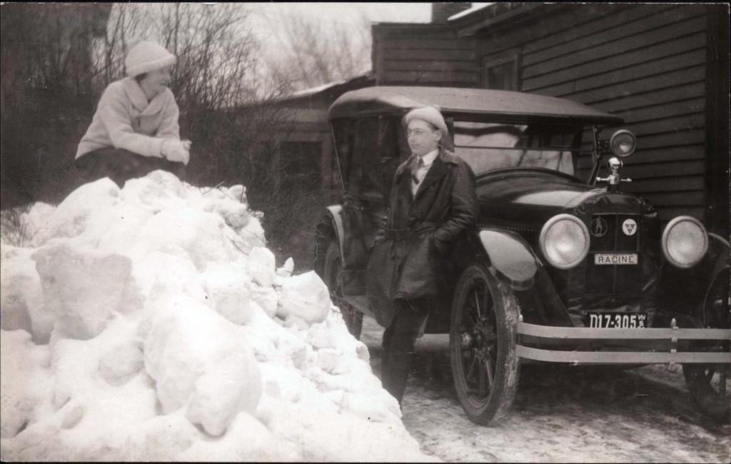1920s snow scene in Racine