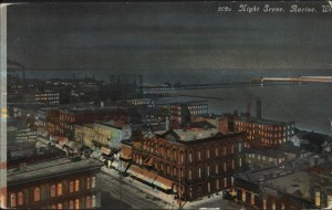 "1910 ""night time"" picture probably from the Courthouse on Memorial Square looking northeast"