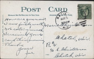 "Reverse side of ""nighttime"" postcard"