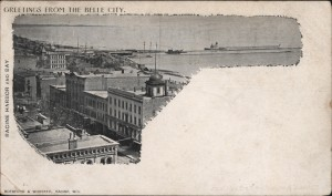 Private Mailing Card, Racine Harbor and Bay