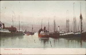 Racine Harbor with working boats, 1907