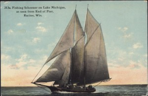 Fishing schooner in Lake Michigan, 1911