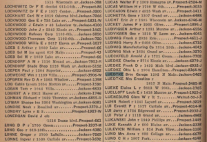 Luedtke Brothers Garage in 1940 Racine phonebook