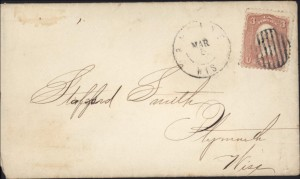 Cover of Racine College Letter to Stafford Smith, Plymouth, Wisconsin