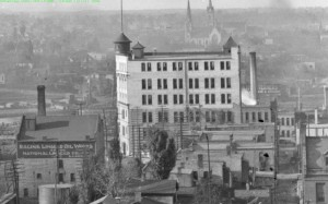 Looking North from the top of the Racine County Court House when it was located on Monument Square (circa 1905). The Shoop Building on State St. is at center and at lower left, the Racine Linseed Oil Works (D.P. Wigley Co) on Wisconsin Ave.