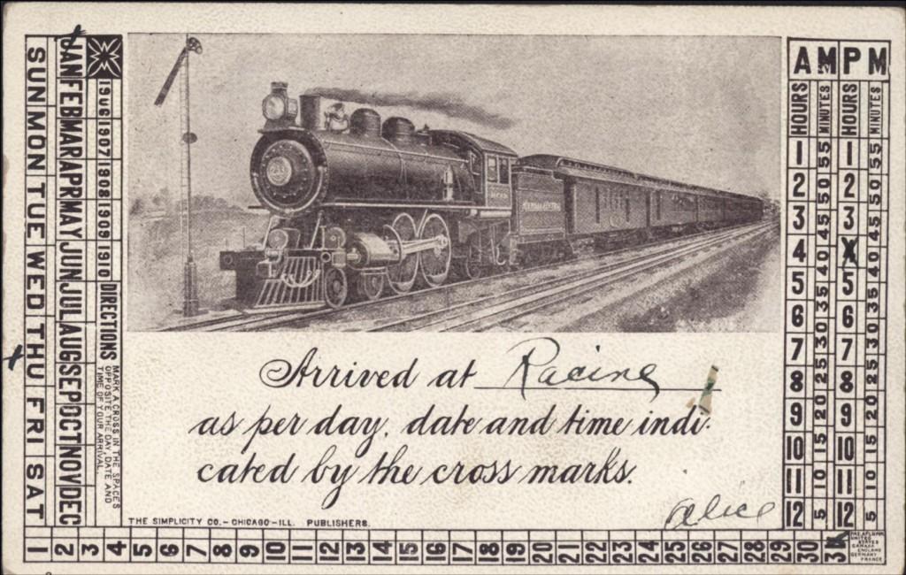 Train arrival postcard, 1907
