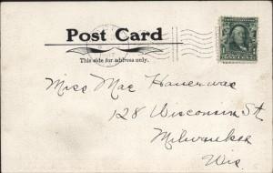 Train arrival postcard, 1907, reverse