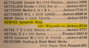 Kewpee in 1940 phone book