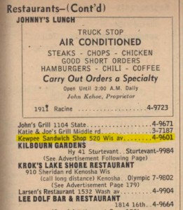 Kewpee in 1954 phone book