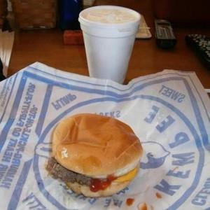 Kewpee burger and a Coke