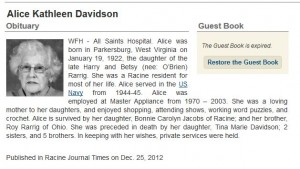 Obituary of Kathleen Davidson, Tina's mother