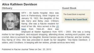 Obituary of Kathleen Davidson, Tina's mother