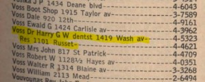Dr. Voss in 1954 phone book