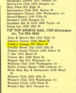 Here's Tubby's listing in the 1970 City Directory