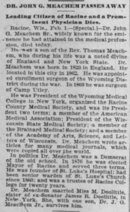 Dr. Meachem Sr. obituary, Chicago Tribune, Feb. 2, 1896