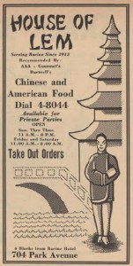From 1954 Racine phone book: Frank Lem ran this restaurant at 704 Park Avenue in what was a residential house.