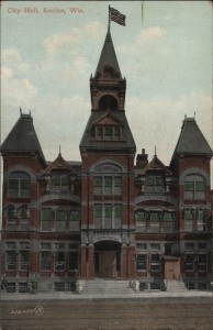 Racine City Hall with 1883 date on it. This is the city hall before it moved to Monument Square.