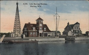 Life Saving Station, Racine, Wisconsin. Postmarked Apr. 21, 1915