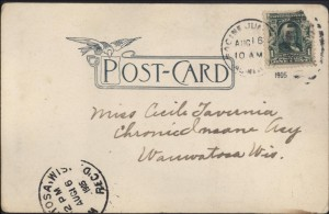 Hotel Racine, 1905, reverse, addressed to Miss Cecile Tavernia, Chronic Insane Asy., Wauwatosa, Wis., Aug. 16, 1905