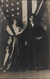 1907 Real photo post card of a sailor and his girlfriend or maybe female relative in Racine, Wis.