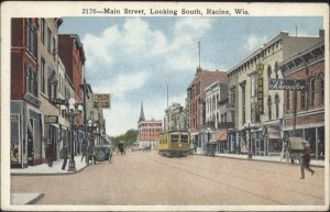 This is a nice Bishop post card from 1910-15 or so, facing south on Main Street. I can see the following shops: Schroeder dry goods, FFH Shoes, Dan and Sol's, the Bijou, and Zahns.