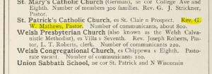 This might be Father Matthews himself. It is spelled Mathew throughout this 1876 Racine Advocate directory.