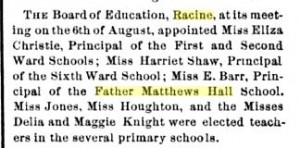 Father Matthew's Hall School in Wisconsin Journal of Education, Volume 8
