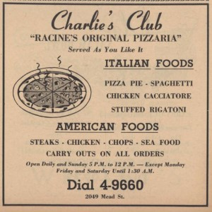 Charlie's Club advertisement from 1954 Racine phonebook