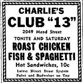 "Charlie's Club ""13"", Racine Journal Times, 6/27/1941"