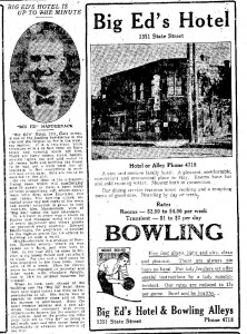 Big Ed's Hotel, 1921. Great write-up of the building and the business, and of Big Ed's career