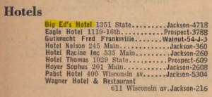 Big Ed's Hotel in the 1940 Racine phone book