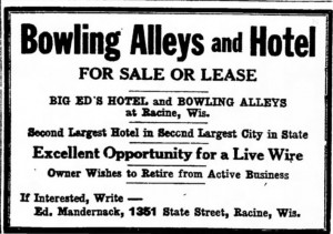 Bowling alley for sale, January 24, 1930