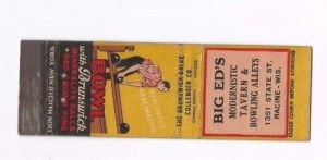 Matchbook cover from Big Ed's
