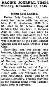 Rip Holly: Her sister Helen's obituary...