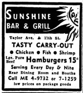 Sunshine Bar & Grill, 1962