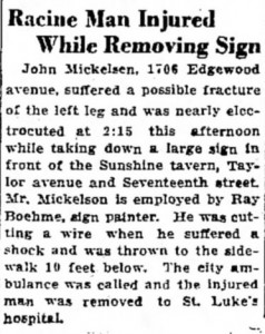 An accident at Sunshine Tavern in 1935