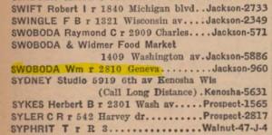 William Swoboda in the 1940 Racine phone book